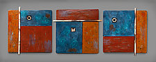 Serenity Triptych in Blue and Brown by Rhonda Cearlock (Ceramic Wall Sculpture)