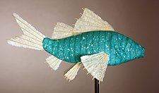 Azul Koi Light Sculpture by Lara Fisher (Mixed-Media Lamp)