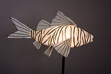 Zebra Koi Lamp by Lara Fisher (Mixed-Media Lamp)
