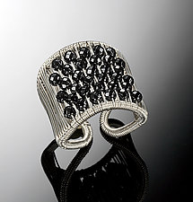 Black Spinel Plaited Tall Ring by Tana Acton (Silver & Stone Ring)
