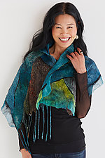 Teal and Citron Shawl by Anne Vincent  (Silk Shawl)
