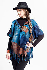 Nuno-Felted Fringed Poncho with Button by Anne Vincent  (Silk and Wool Poncho)