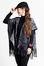 Nuno-Felted Fringed Poncho by Anne Vincent  (Silk and Wool Poncho)