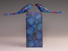 Face to Face in Blue by Patty Carmody Smith (Mixed-Media Sculpture)