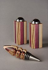 3-Stripe Table Set by Martha Collins (Wood Salt & Pepper Shakers)