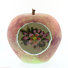 Apple and Blossoms by Clinton Smith (Art Glass Paperweight)