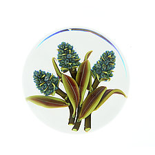 Blue Lilac Trio by Clinton Smith (Art Glass Paperweight)