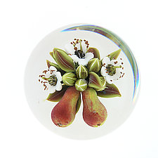 Pears with Blossoms by Clinton Smith (Art Glass Paperweight)