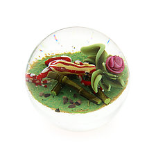 Tricolor Zarayunga Poison Dart Frog Miniature Paperweight by Clinton Smith (Art Glass Paperweight)