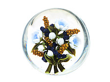 Berkshire Blue Flowers and Blueberries by Clinton Smith (Art Glass Paperweight)
