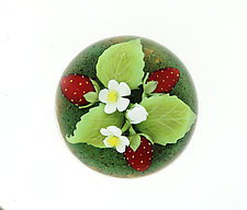 Strawberries and Blossoms Miniature Paperweight by Clinton Smith (Art Glass Paperweight)