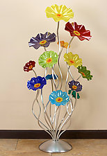 Floor Standing Rainbow Cluster by Scott Johnson and Shawn Johnson (Art Glass Sculpture)