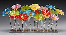 Beach-Colored Garden Table Centerpiece by Scott Johnson and Shawn Johnson (Art Glass Sculpture)