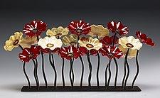 Garden 19 Flower Barrington Colors by Scott Johnson and Shawn Johnson (Art Glass Sculpture)