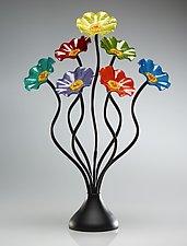 Seven-Flower Rainbow Bouquet by Scott Johnson and Shawn Johnson (Art Glass Sculpture)