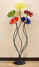56'' Rainbow Flowers by Scott Johnson and Shawn Johnson (Art Glass Sculpture)