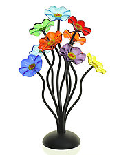 Nine-Flower Bouquet in Prism Colors by Scott Johnson and Shawn Johnson (Art Glass Sculpture)