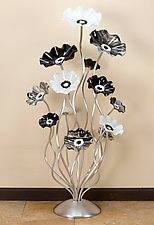 48'' Black and White Cluster by Scott Johnson and Shawn Johnson (Art Glass Sculpture)