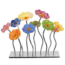 Pastel Garden Centerpiece by Scott Johnson and Shawn Johnson (Art Glass Sculpture)