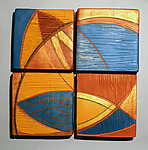 Four Tiles by Liza  Halvorsen (Ceramic Wall Sculpture)
