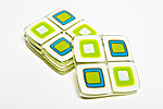 Vanilla and Turquoise Retro Coasters by Helen Rudy  (Art Glass Coasters)