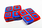 Red Tomato Retro Coasters by Helen Rudy  (Art Glass Coasters)