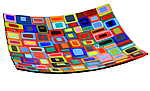 Large Carnival Platter by Helen Rudy  (Art Glass Platter)