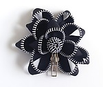 Black Zipper Pin by Kate Cusack (Zippered Brooch)