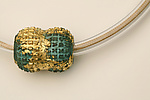 Verdigris and Gold Ball Necklace by Nancy Worden (Gold & Copper Necklace)