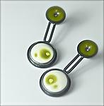 Sumie Double Earrings by Reiko Miyagi (Silver & Enamel Earrings)