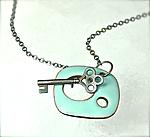 Key Clasps Pendant by Reiko Miyagi (Silver & Enamel Necklace)