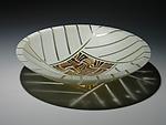 Amber Feathers Bowl by Patti & Dave Hegland (Art Glass Bowl)