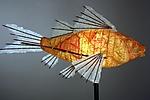 Journey Koi Light Sculpture by Lara Fisher (Mixed-Media Lamp)