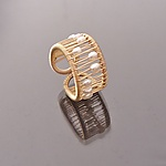 Pearl Kinetic Ring on Gold-Filled Wire by Tana Acton (Gold, Silver & Pearl Ring)