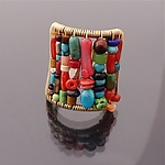 Tall Multi-Color Stone Ring by Tana Acton (Gold & Stone Ring)