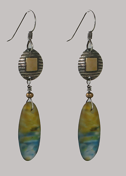 Discs with Drop Pod Earrings in Amber