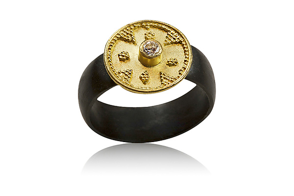 22k Gold Granulation Ring with Diamond