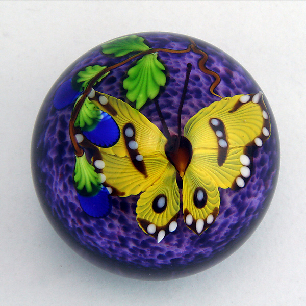 Yellow Butterfly on Purple Paperweight