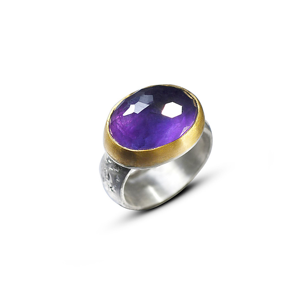 Honeycomb Amethyst Ring 22k and Silver