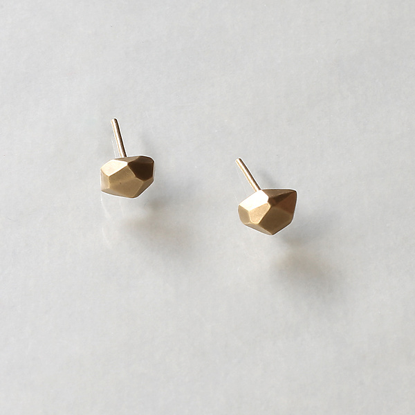 Small 14K Gold Faceted Nugget Stud