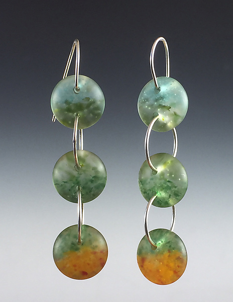 Three Drop Earrings in Aqua, Pine, and Orange