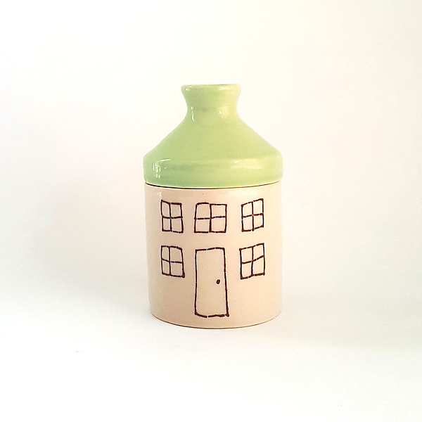 Extra Small Porcelain Canister with House Design