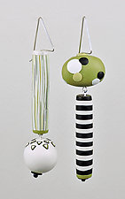 Spring Green Asymmetrical Dangles by Loretta Lam (Polymer Clay Earrings)