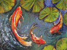 Summer Koi by Anne Nye (Art Glass Wall Sculpture)