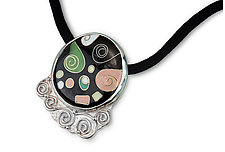 Spiral Nebula Necklace by Nancy Troske (Enameled Necklace)