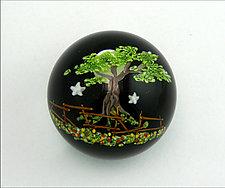 Midnight Tree Paperweight by Mayauel Ward (Art Glass Paperweight)