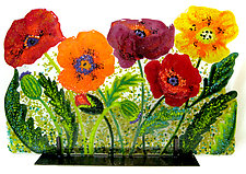 Wild Poppies by Anne Nye (Art Glass Sculpture)