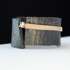 Black Ice Ring by Dagmara Costello (Gold, Silver & Stone Wedding Band)