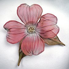 Dogwood Bloom with Leaves Pin by Sarah Cavender (Metal Brooch)