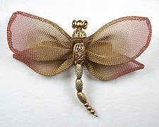 Large Dragonfly with Open Mesh Wings & Bead Body by Sarah Cavender (Metal Brooch)